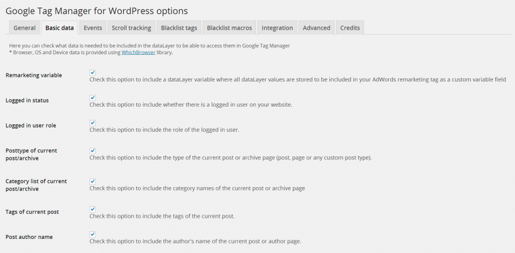 Google Tagg Manager Plugin för wordpress